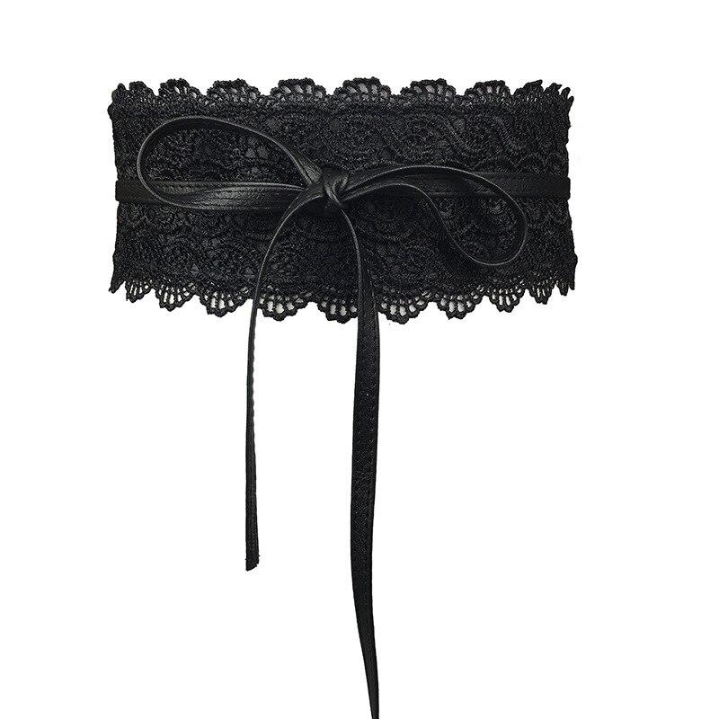 Badinka 2018 New Black White Wide Corset Lace   Belt   Female Self Tie Obi Cinch Waistband   Belts   for Women Wedding Dress Waist Band