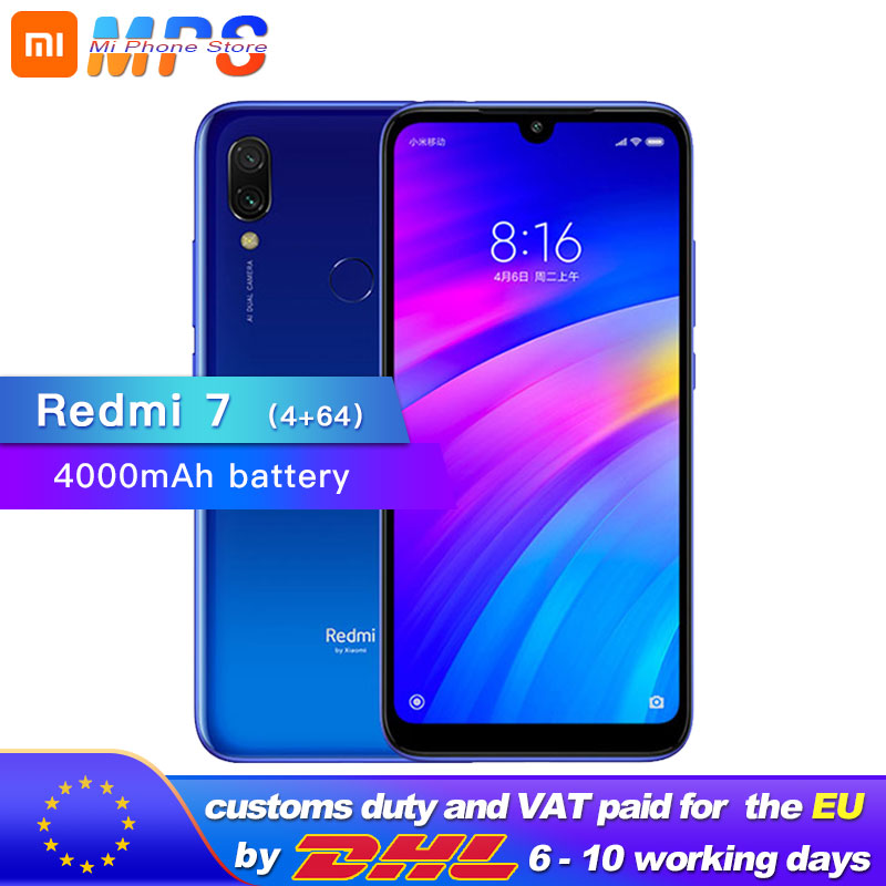 Xiaomi Redmi 7 4GB 64GB Mobile phone Octa Core 12MP Camera Snapdragon 632 4000mAh 1520 x