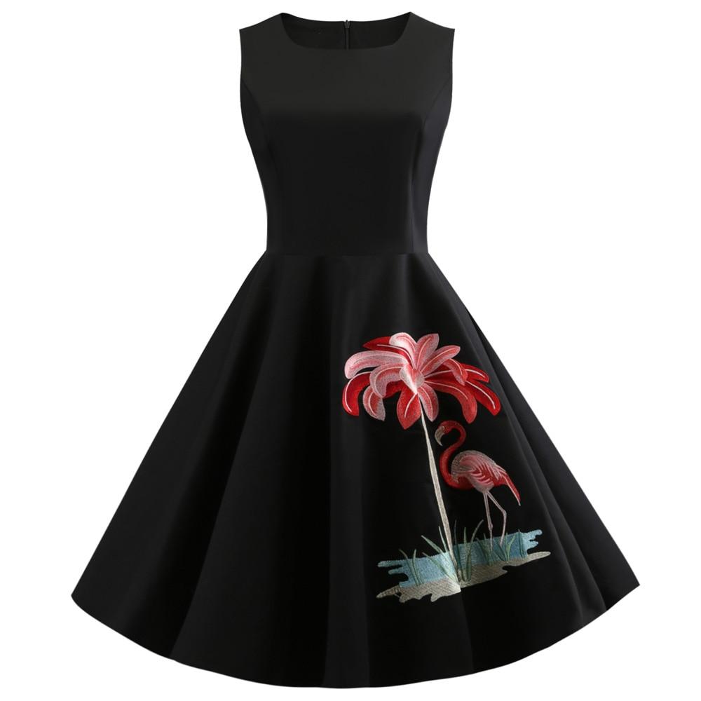 Wipalo Flamingo Embroidery Vintage Party Dress Women Plus Size Retro 50s  Rockabilly Robe A-Line Pin Up Dresses Feminino Vestidos e6b4ad50532b