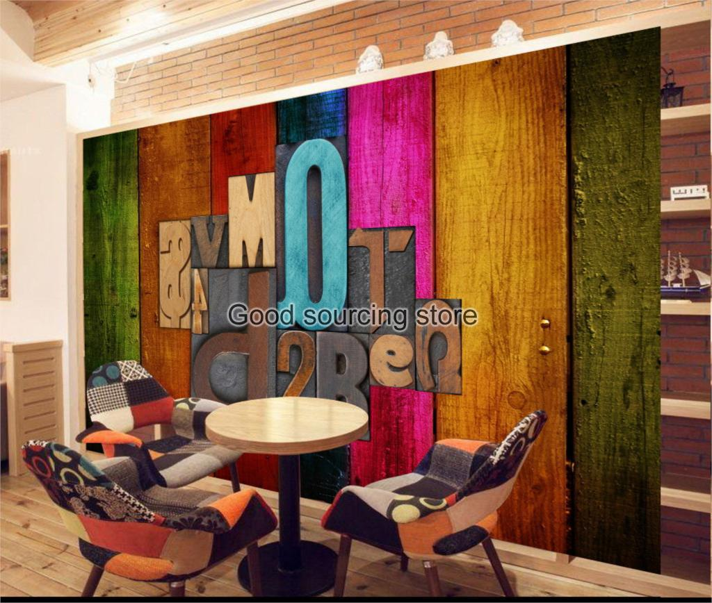 colorful wood word letter photo wallpaper for coffee shop