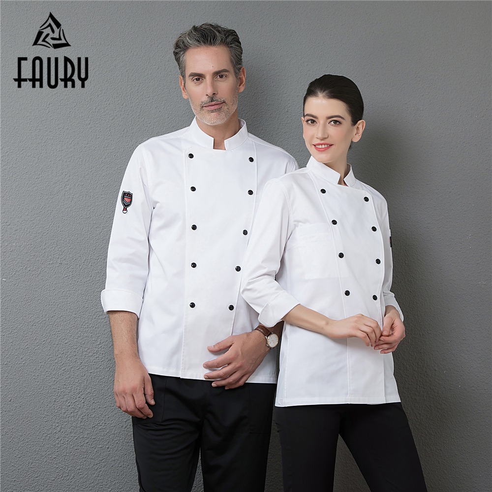 Men's Professional Restaurant Top Chef Clothing Long Sleeve Kitchen Cooking Work Uniforms Catering Waiter Overalls Outfit Coats