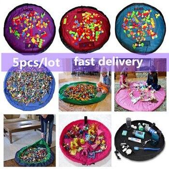 5pcs Baby Carpet Play Mat Building Block Stuffed Toys Storage Bag Multifunctional Kids Playing Game Blanket Rug Toy Organizer