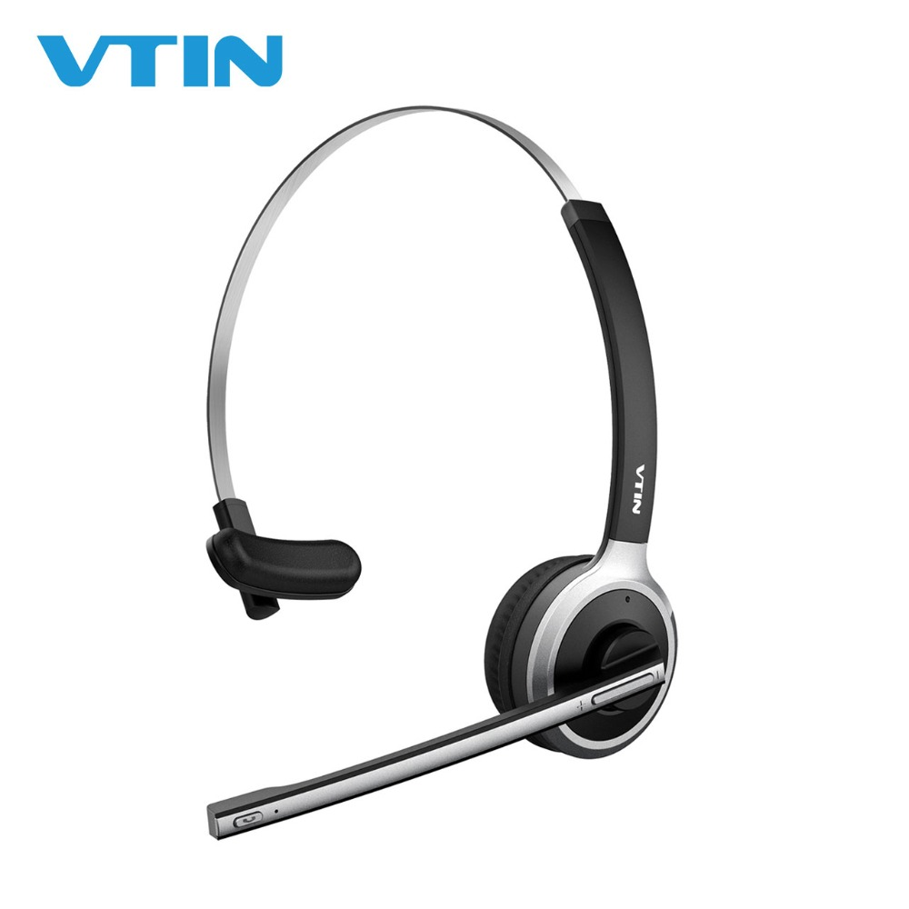 VTIN 078 Bluetooth Headset Wireless Headphones Over-Head Headphone With Crystal Clear Noise Canceling Microphone For Call Center 1 2 pack mpow pro professional wireless bluetooth headphone with microphone 13h talking time for driver call center skype office