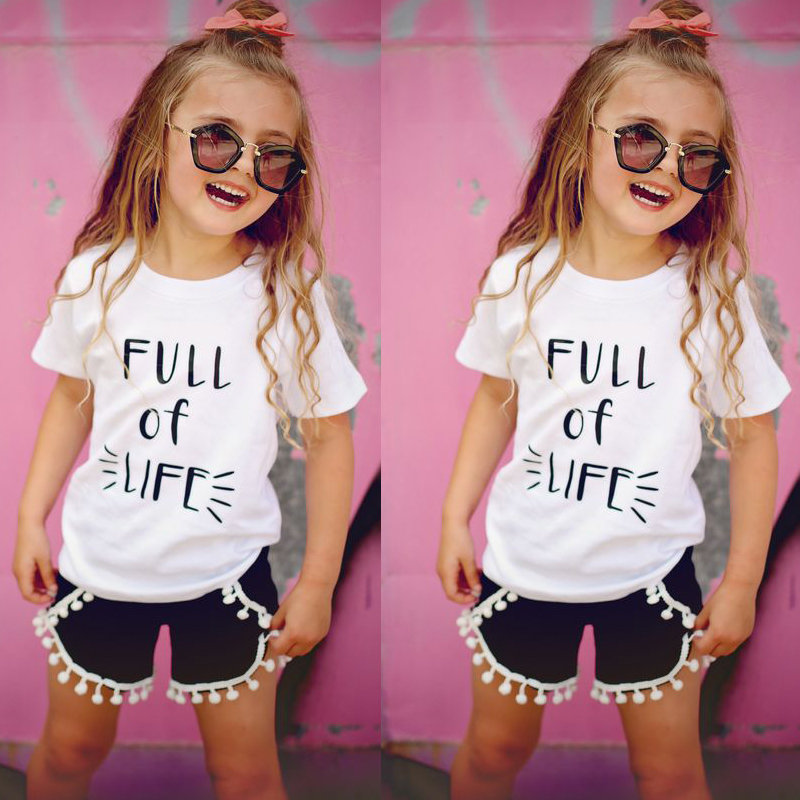 Toddler Kids Baby Girls Clothes Set Summer Short Sleeve T-Shirt + Tassel Short Hot Pants 2pcs Outfit Fashion Kids Clothing Set