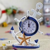 Anchor Home Furnishing Ornaments Mediterranean Wood Crafts Clock Pendulum European Wall Clock Ornaments Decorations Watches
