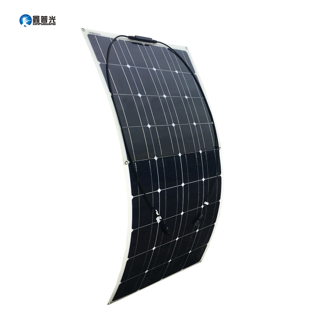 <font><b>100W</b></font> <font><b>Solar</b></font> <font><b>Panel</b></font> 18V 36 Cells New Quality Semi Flexible Monocrystalline PV Module for <font><b>12V</b></font> Battery RV Yacht Car Home Charger image