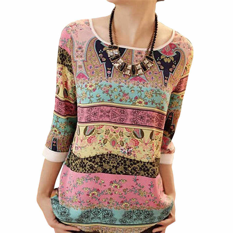 Summer Chiffon Blouse 2019 Fashion Aztec Stripe Women Blouses Lace Tops Floral Print O-neck Casual Shirt Blusas Camisas Mujer