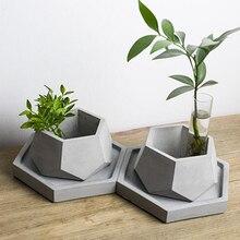 Molde de silicona para maceta de hormigón geométrico, hecho a mano, herramienta de decoración para el hogar