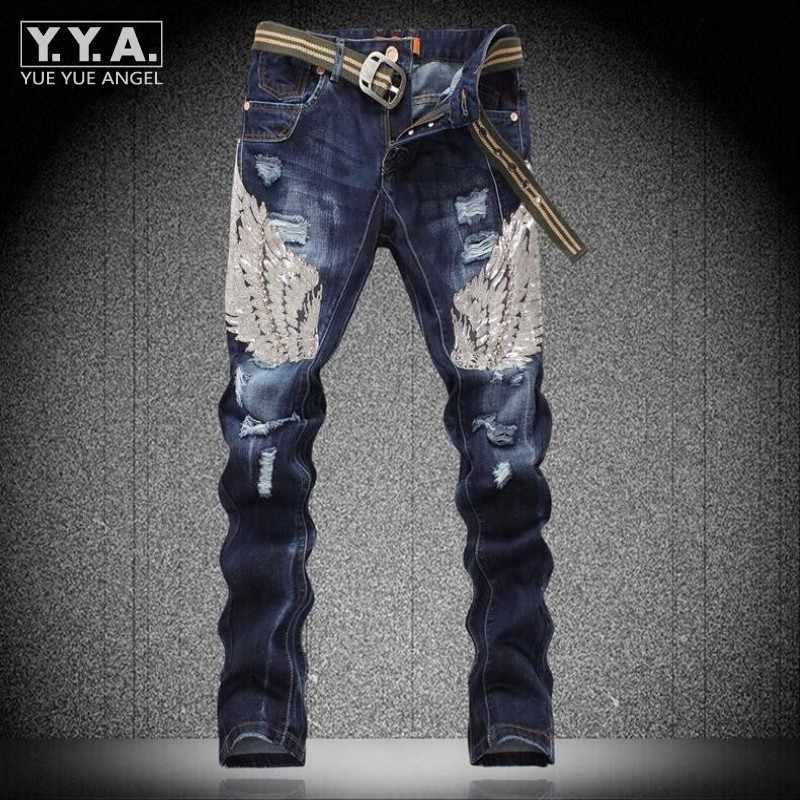 Mens แฟชั่น Sequins Eagle Wing ฝ้ายกางเกงยีนส์กางเกง Denim กางเกง Ripped ล้างสบายๆฟิตเนสบุคลิกภาพ Rock Punk Homme กางเกงยีนส์