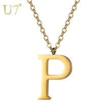 U7 ожерелье с первоначальным именем золотого цвета из нержавеющей