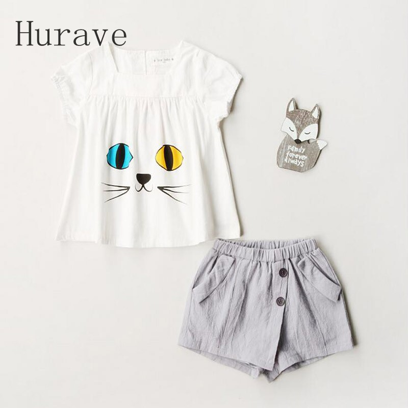 Hurave 2017 Animal Girls Clothing Sets New Summer Fashion Style Cat Printed T-Shirts+ pants 2Pcs Children Clothes Sets