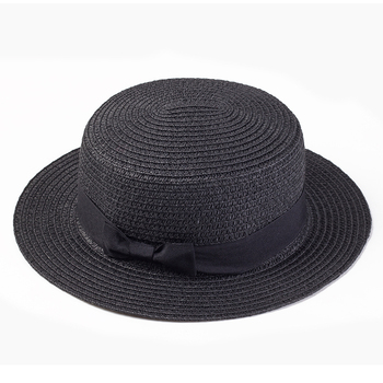 Women sun hat Ribbon Round Flat Top Straw beach hat 1