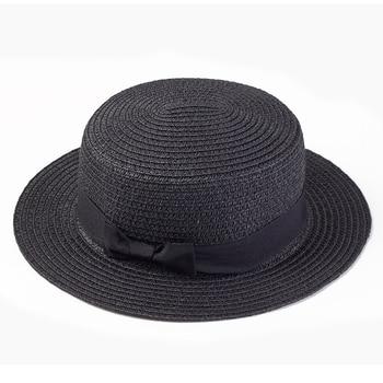 Women sun hat Ribbon Round Flat Top Straw beach hat 1
