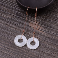 2019 Original Natural Jade Long Drop Earrings For Women Fashion Luxury 18K Rose Gold Lady Earrings For Wedding Engagement Gift