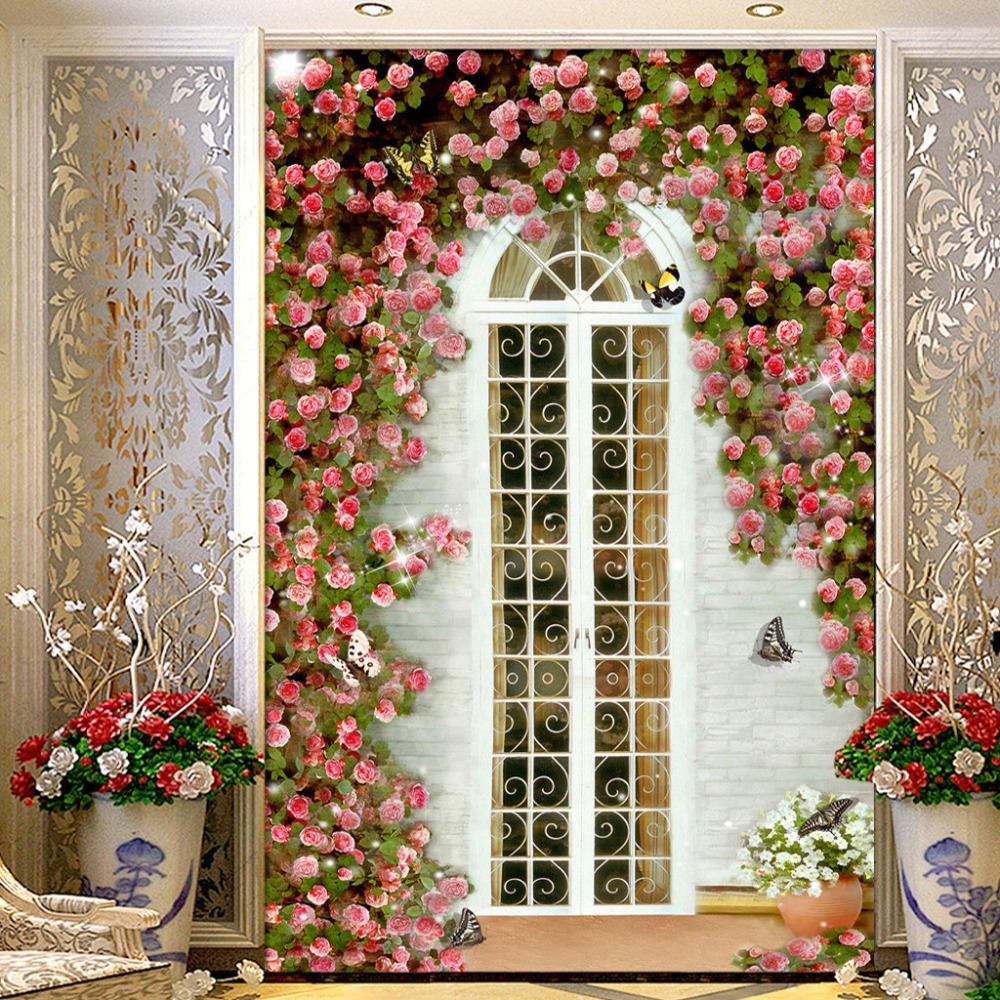 Custom 3D Wall Murals Wallpaper European Style Garden Rose Flower Entrance  Corridor Background Wall Decorative Mural Wallpaper