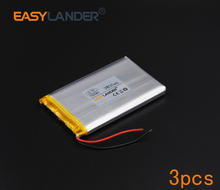 3pcs/Lot 3.7V 3800mAh Rechargeable li Polymer Li-ion Battery For Bluetooth Notebook Tablet PC Consumer electronics safety 755080