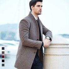 Dos homens revestimento de poeira casaco de lã nova chegada 2016 roupas de outono dos homens jaqueta de inverno longo casaco de pano dos homens