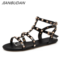 JIANBUDAN Flat bottom large-size womens summer sandals Fashion rivet Gladiator Sandals  Open Toe Sexy Womens beach shoes 34-43