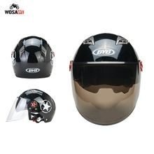 BYB Motorcycle Helmet Open Face ABS Motocross Filp up Moto Safety Hat Removable Double Lens Motocicleta Motor Racing