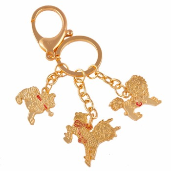 Feng Shui Three Celestial Guardians W Sword, Lasso,hook Key Ring Keychain Brass Keychains