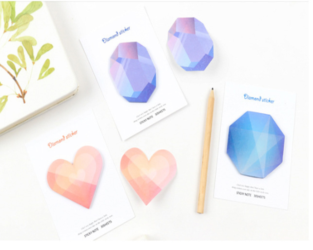 Special Appearance Diamond Stickers 30 Sheets Sticky Gradient Note Post Colorful Memo Pad Stationery Office School Supplies