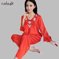 Damska Silk Satin Piżama Set Pajama Pijamas Piżamy Zestaw Piżamy Loungewear Sexy 2 Sztuk czerwony/różowy/fioletowy 6 kolory S50