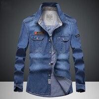 ג 'ינס בגדי מותג האופנה Slim ג' ינס Camisa גברים חולצת מקרית שרוול הארוך חולצות חולצות ג 'ינס גברים 4XL ארה