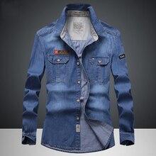 """Envmenst מותג בגדי ג ינס חולצות גברים מקרית ארוך שרוול חולצות אופנה Slim Camisa ג ינס mMale חולצות 4XL ארה""""ב אירופאי סגנון"""