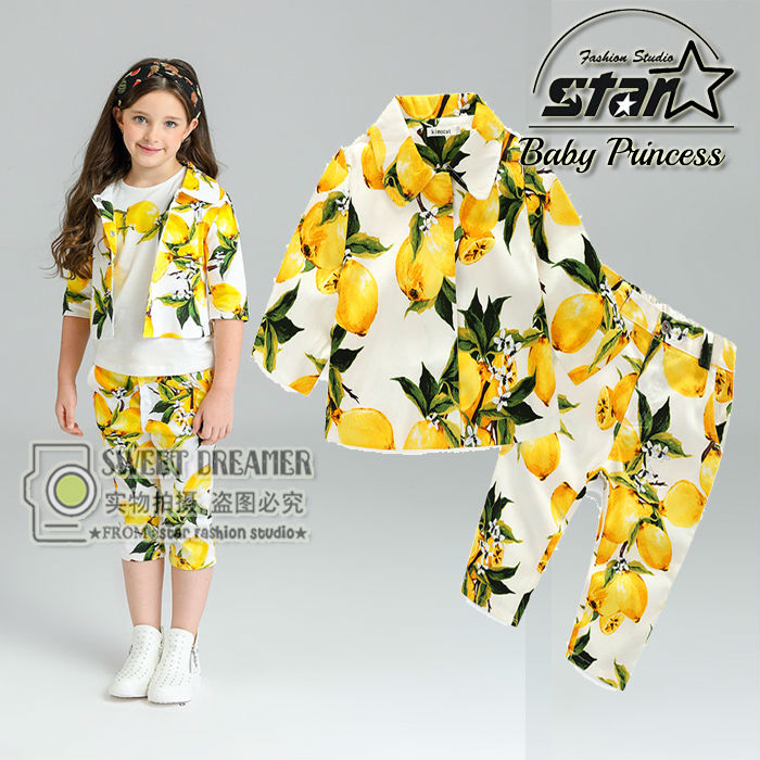 Girls 3Pcs Set 2016 Autumn Winter Baby Girls Clothing Suits Kids Clothes Girls Outfits Lemon Print