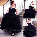 Victoria Black Gothic Wedding Dress 2017 Vestido De Noiva Strapless Ball Gown Bridal Dresses Custom Made Plus Size Wedding Gowns
