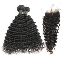 Deep Wave Bundles With Closure Human Hair Bundles With Closure Remy Malaysia Hair Weave Bundles Hair Extensions For Sale Deals