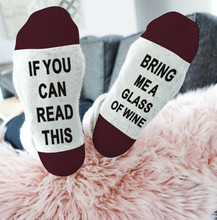 Styles humor words printed socks If You can read this Bring Me a Glass of Wine Cotton casual socks unisex socks bring wine request sentence pattern ankle socks
