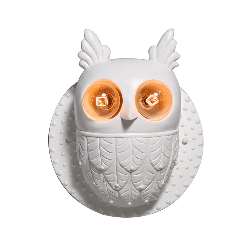 Creative Resin Owl Wall Lamp Bedroom Bedside Lamp Aisle Decorative Lamps Wall Lights for Home Living Room Porch Light Fixtures