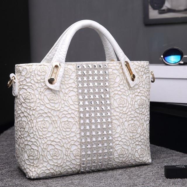 548367e596a25 Weiß Damen Hand Tasche Kristall Diamant Frauen Hochzeit handtasche Silber  Spitze Krokodil Patent Leder Taschen Rose