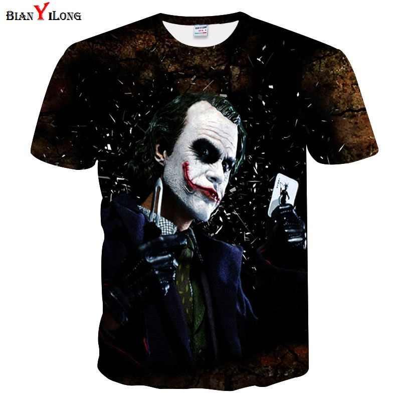 Футболка мужская хип-хоп Джокер модная футболка мужская 3d футболка с коротким рукавом Забавный принт много Джокер цветы Азия M/L/XL/3XL/4XL