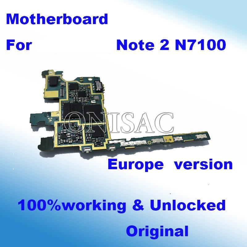 imágenes para Bien trabajado Para Samsung Galaxy Nota 2 N7100 Placa Base Placa Base 100% placa base placa Lógica Original Versión de LA UE y Desbloqueado