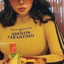 Написанная и направленная Квентин Тарантино короткая футболка женская желтая Сексуальная укороченная футболка Tumblr в полоску с длинным рукавом хлопковая Футболка с принтом