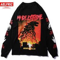 Aelfric 2019 Japan Style Tops Monster Printed T shirt Women Summer Long Sleeve Hip Hop Cotton T Shirt Harajuku Streetwear Tshirt