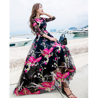 HANZANGL 2017 Newest Fashion Runway Maxi Dress Women S Elegant 3 4 Sleeve Voile Floral Embroidery