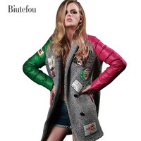 2018 Spring Autumn and Winter women new embroidery patch designs wool coat brand design wide waisted v neck fashion long coat
