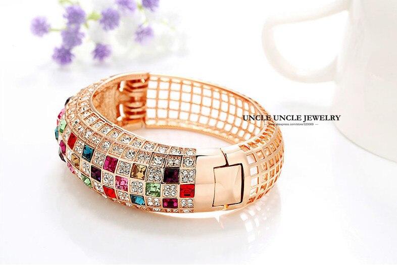 Incroyable couleur or Rose multicolore cubique zircone entièrement réglage de luxe reine série femme bracelet Bracelets en gros - 5