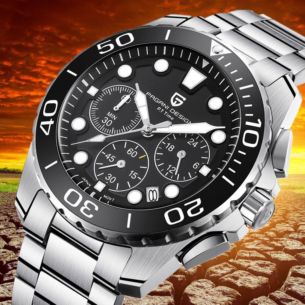 PAGANI DESIGN Military Watch Men Top Luxury Brand Chronograph Waterproof Stainless Steel Quartz Watches Relogio Masculino Saat