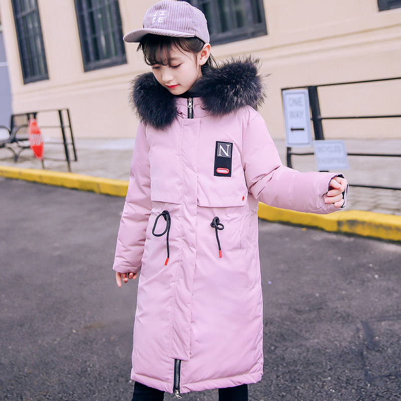 2018 New Brand Children Winter Long Fashion Down Jacket 3-8 Age Girls Outwear Big Fur Hoodie Kids Warm Cloothes Baby Boy Parka 2018 new girls long padded jacket children winter coat kids warm thickening down coats for kids outwear leisure parka kid jacket