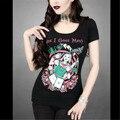 """Gótico Divertido Tops Primavera Verano Moda de Nueva 3D Tatuaje Impresión Flaca Delgada de manga Corta T-shirt Muchacha de Las Mujeres """"¿ Me He Vuelto Loco"""""""