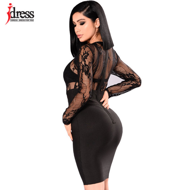 05e5586a13e ... IDress Club Sexy Women Dress Knee Length Slim Long Sleeve Sheer Lace  Party Dresses Hollow Black ...