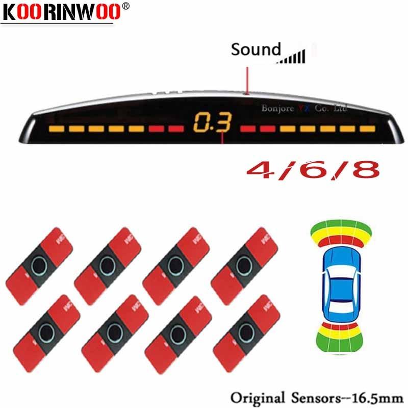 Koorinwoo LCD Parktronics Original 4/6/8 Sensors 16.5MM Car Automobile Reversing Radars Detector Parking Assistance Radar Alert