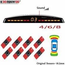 Koorinwoo LCD Parktronics الأصلي 4/6/8 مجسات 16.5 مللي متر سيارة السيارات عكس رادارات كاشف مساعد صف سيارة الرادار تنبيه