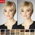 Элегантный Короткие Парики Человеческих Волос Для Белых Женщин MAYSU Косой Пробор Сложные Необработанных Бразильский Виргинский Волосы Светлые парик