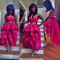 Oumeiya OEC465 Satin Sweetheart Short front Long Back Fuchsia Pink Girls Party Dresses 2015