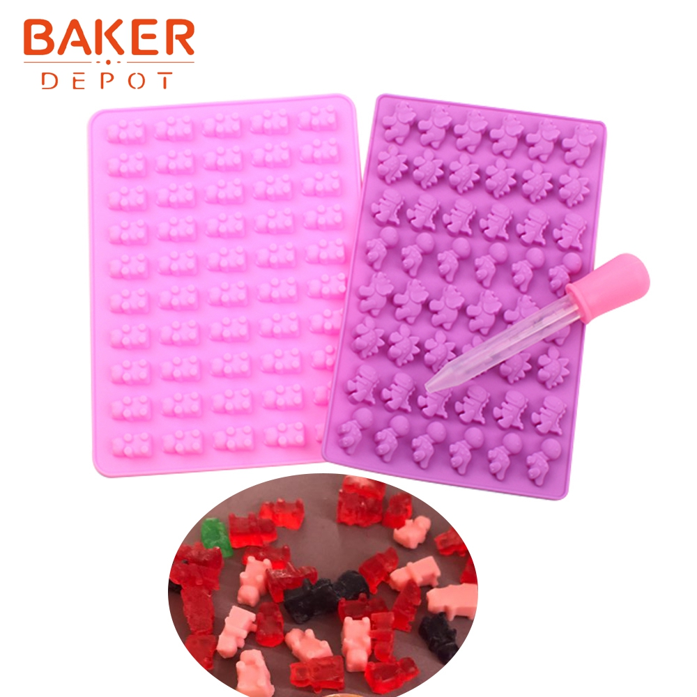 <font><b>BAKER</b></font> <font><b>DEPOT</b></font> Bear Candy Gummy Mold Silicone mold for Chocolate Ice cube dinosaur sugar candy Cake Decoration Tool with Dropper image
